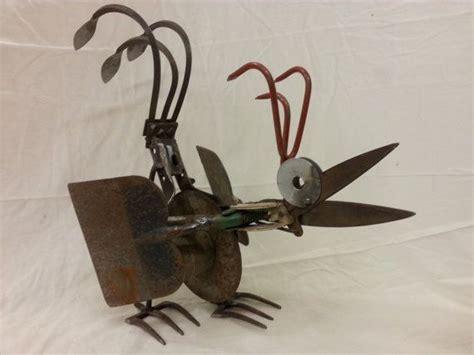 repurposed garden tool chicken sculpture