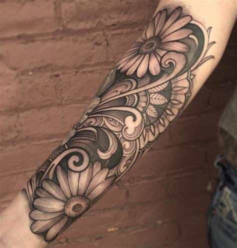 black and grey daisy tattoos black and gray daisy forearm tattoo by laura jade tattoonow