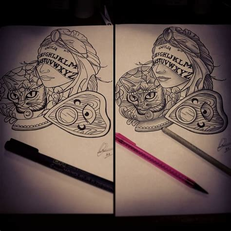 ball tattoos designs cat ouija board design by