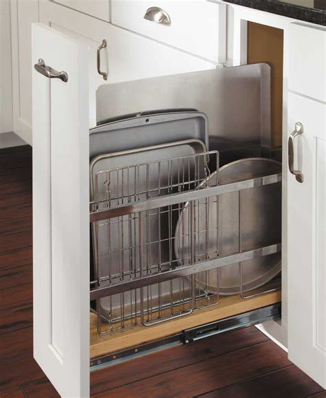 cookie sheet storage cabinet tray divider pull out kitchen pinterest