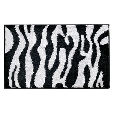 zebra print bath rug interdesign zebra 34 in x 21 in bath rug in black white 16910 the home depot
