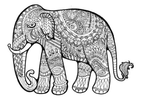 coloring pages abstract elephant zentangles elephants doodle art adult colouring on