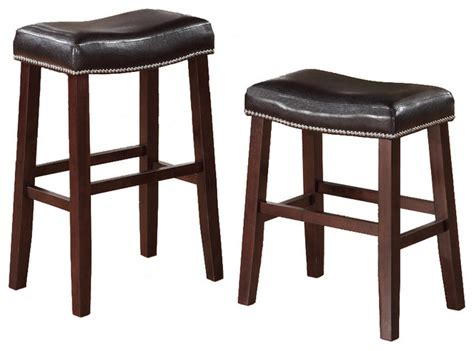 nailhead bar stool leather 2 barstools faux leather saddle nailhead trim dark cherry