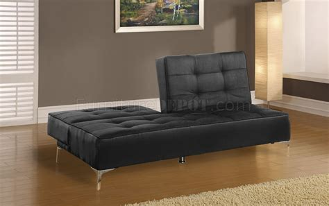 black microfiber contemporary sofa bed with split back