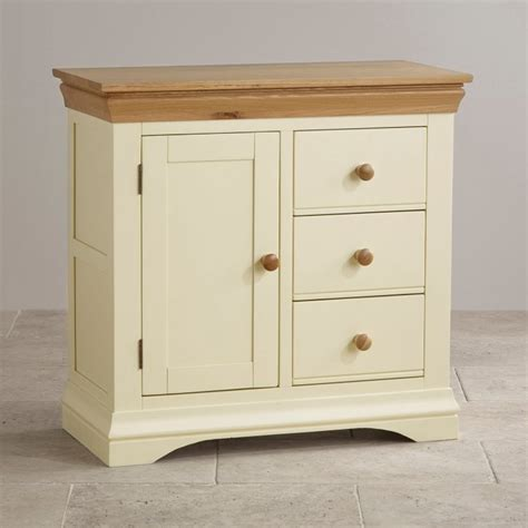 country cottage natural oak storage cabinet cream painted