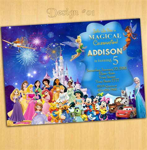disney business card template birthday invitation templates disney birthday invitations