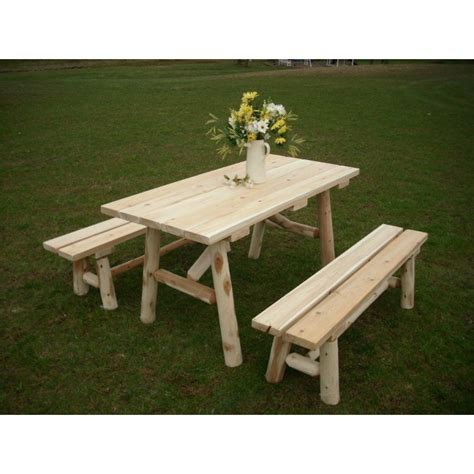 rustic picnic bench white cedar log traditional picnic table with detached