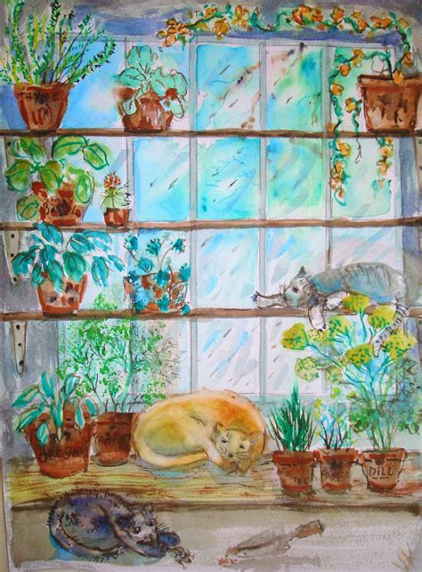 paint  indoor herb garden  watercolor