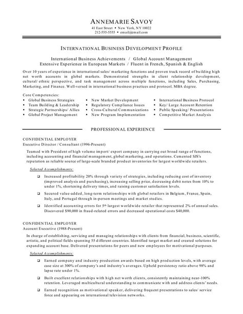exle of business resume international business resume objective international
