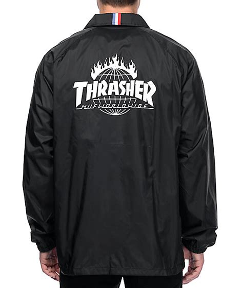 Jaket Trasher huf x thrasher tds black coaches jacket