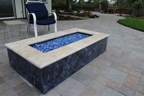 Rectangle Pits rectangle firepit with blue glass