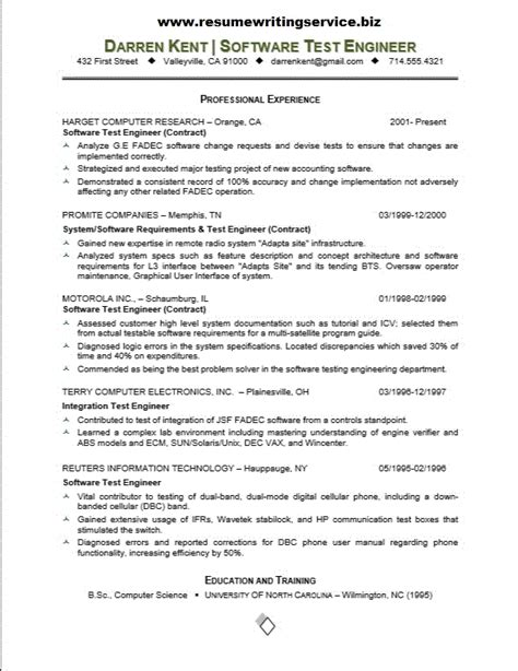 Resume Sles For Experienced In Testing Software Tester Resume Sle Resume Writing Service