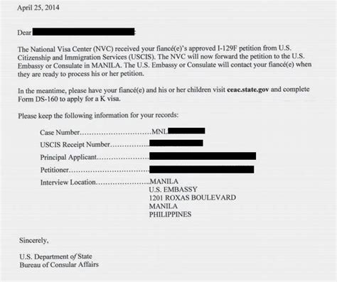 Us Embassy Manila Letter K 1 Visa Application Acquisition Of Mnl Number Receipt Of Nvc Letter Esteytsayd