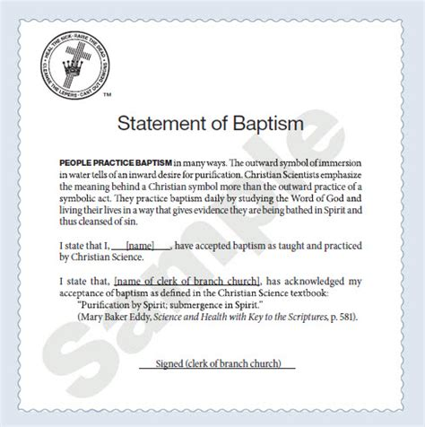 Parent Consent Letter For Baptism Applications And Forms Christian Science