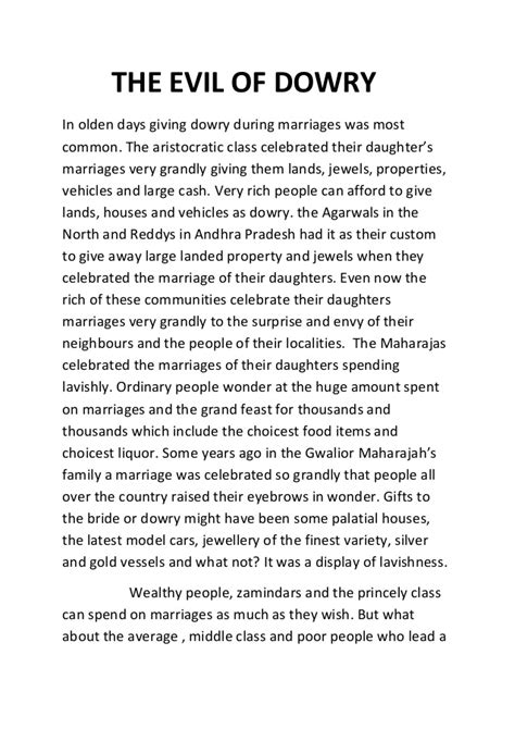 Dowry Essay by Evil Of Dowry
