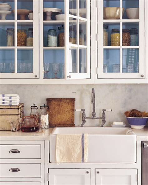 kitchen cabinets glass front white glass front kitchen cabinets inside of cabinets painted blue farm sink home small