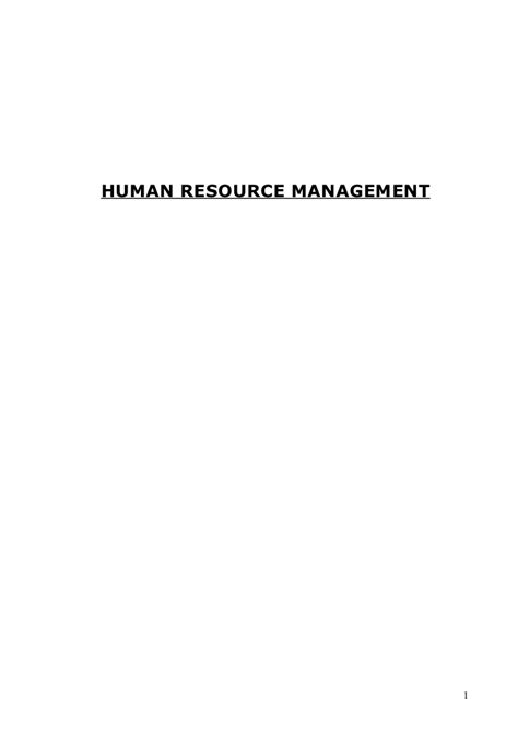 Hr Management Mba Notes by Human Resource Management Notes Mba