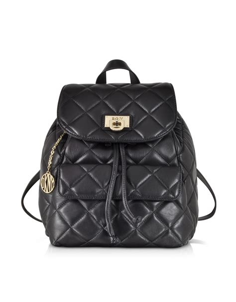 Black Quilted Backpack by Dkny Gansevoort Black Quilted Nappa Leather Backpack In Black Lyst