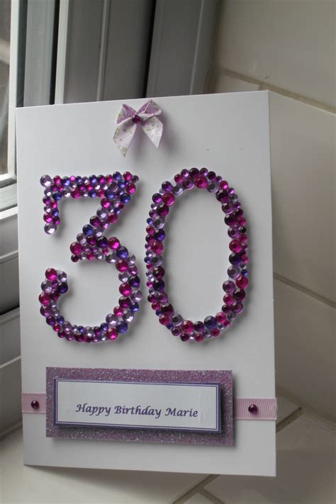 Handmade 30th Birthday Card - 30th birthday card handmade with gems folksy