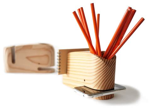 wood whale holder modern desk accessories by the