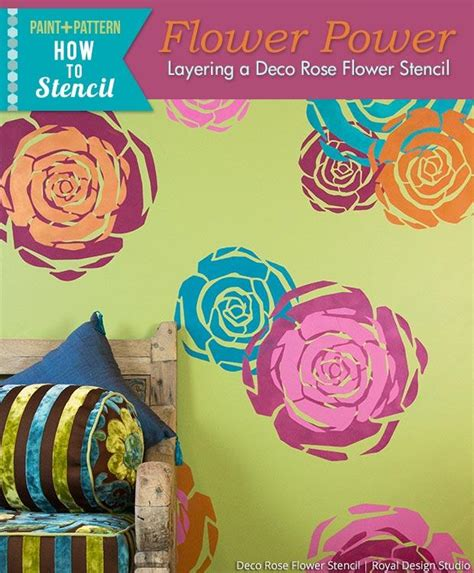design drill flower power studio stencil tutorial colorful wall with modern flower art