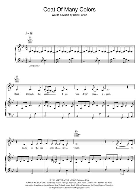 coat of many colors chords coat of many colors sheet by dolly parton piano