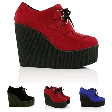 new womens wedge heel creeper sneak lace up platform shoes