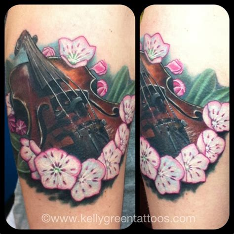 mountain laurel tattoo violin and mountain laurel done on the one and only