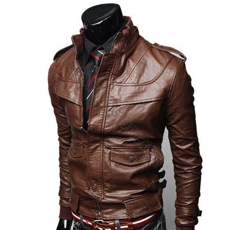 Handmade Leather Motorcycle Jackets - handmade brown biker leather jacket front panel