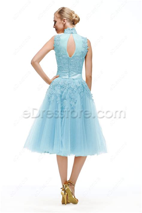 tea length cocktail dresses homecoming light blue lace vintage prom dresses tea length