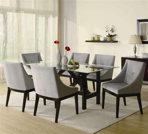 Contemporary Glass Dining Room Sets Cappuccino Finish Glass Top Modern Dining Table W Optional