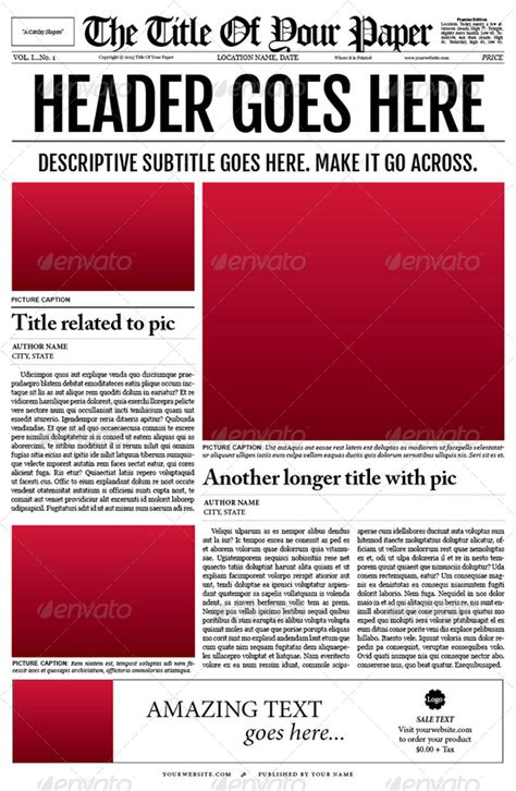 Old Style Newspaper Template By Tedfull Graphicriver News Template