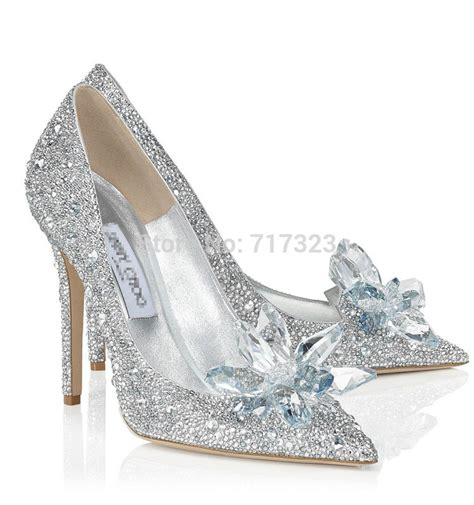 Jimmy Choo Wedding Shoes Kw Mirror Sepatu Highheels Wanita Glitter cinderella glass shoes promotion shopping for promotional cinderella glass shoes on