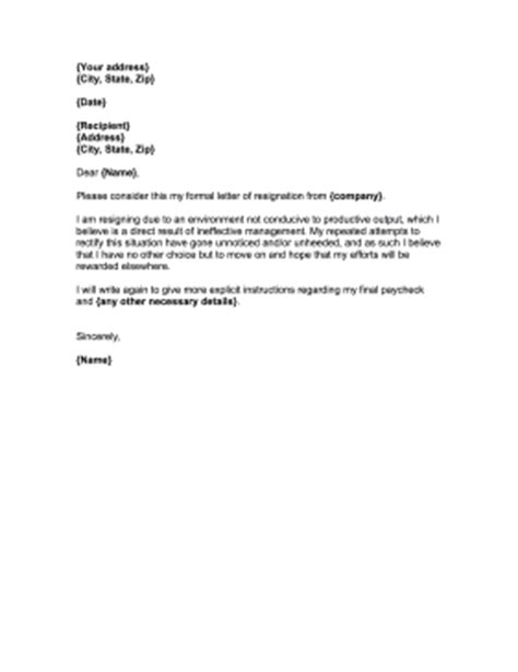 Sle Resignation Letter For Bad Management Official Resignation Letter