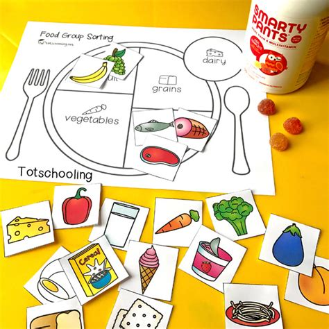 printable preschool sorting activities teach kids about healthy eating with a food group sorting