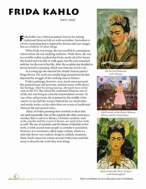 frida kahlo brief biography frida kahlo biography worksheet education com