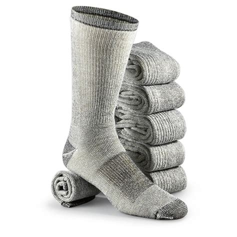 Wool Socks 6 prs of merino wool blend socks black gray 202966