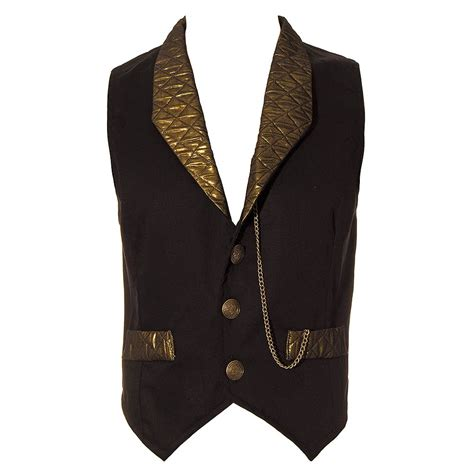 Patchwork Waistcoat - golden steunk duke quilted black and gold mens