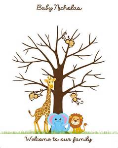 jungle baby shower fingerprint guest book poster safari