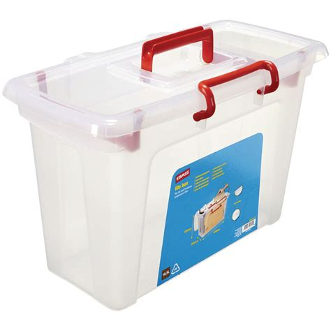plastic file box sale on staples plastic file box with lid and handle clear 16 5 l staples now available our best