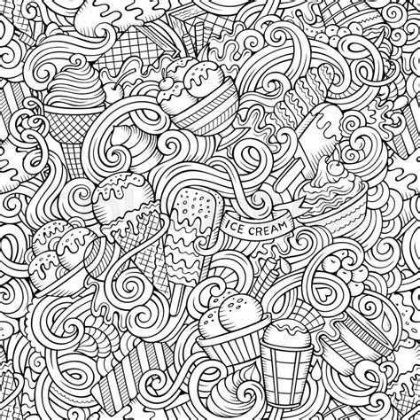 doodle ice cream pattern cartoon hand drawn ice cream doodles seamless pattern