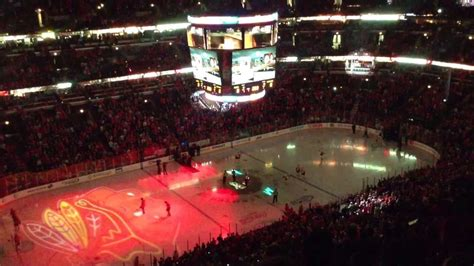 blackhawks standing room chicago blackhawks intro against calgary flames at united center chicago il 26th apr 2013