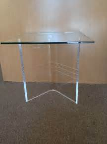 Clear Base Table L Clear Acrylic Lucite Boomerang Quot V Quot Shaped End Table Bases