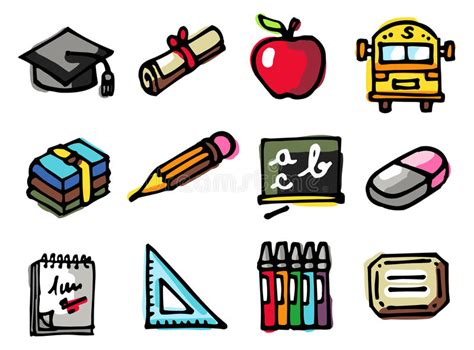 coloring school icons royalty free stock photos image school icons stock vector illustration of style objects