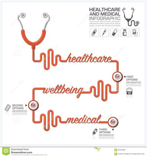 healthcare and medical infographic with stethoscope