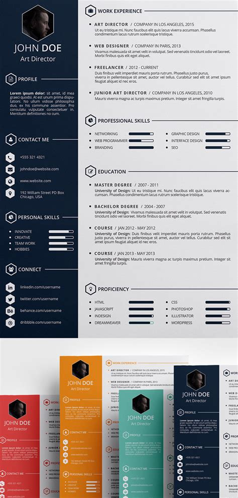 free creative resume template 15 free modern cv resume templates psd