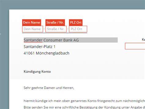 santander consumer bank kreditkarte santander k 252 ndigung vorlage chip