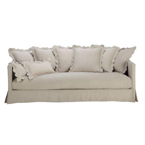 Linen Sofa by Linen Sofa Seats 3 4 Boutis Boutis Maisons Du Monde