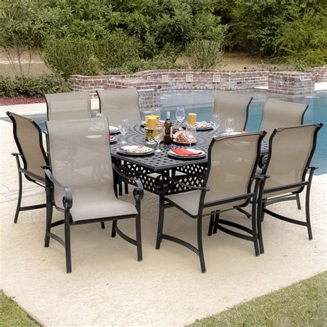 8 Person Patio Table La Salle 8 Person Sling Patio Dining Set With Cast Aluminum Table Modern Outdoor Dining Sets