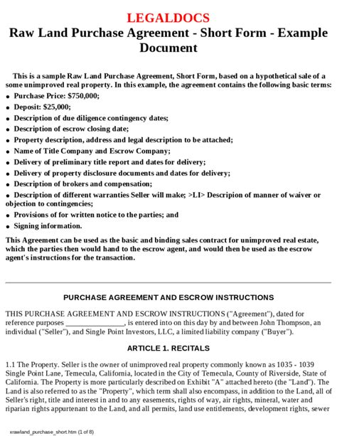 land purchase contract template land purchase agreement free